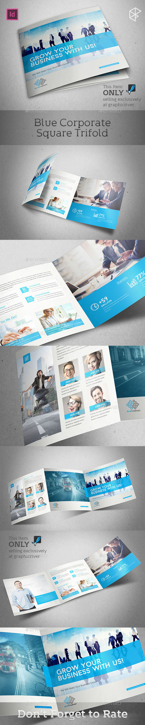 Blue Corporate Square Trifold - Corporate Brochures