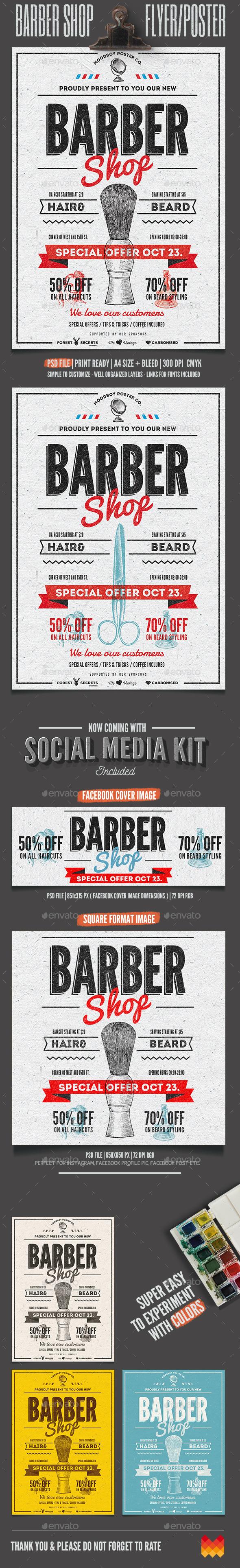 Barber Shop Vintage Flyer/Poster - Commerce Flyers