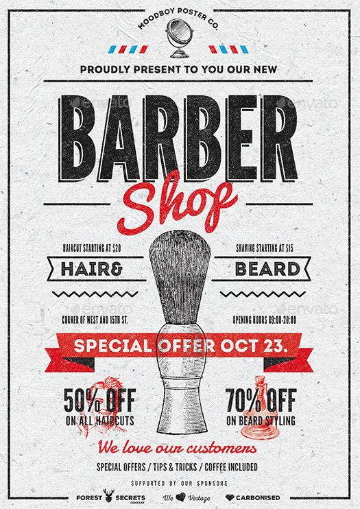 barber shop vintage flyer poster by moodboy graphicriver. Black Bedroom Furniture Sets. Home Design Ideas