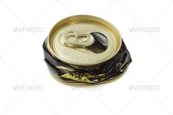 Crushed disposable can - Stock Photo - Images