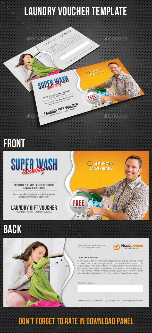 Laundry Services Gift Voucher - Cards & Invites Print Templates
