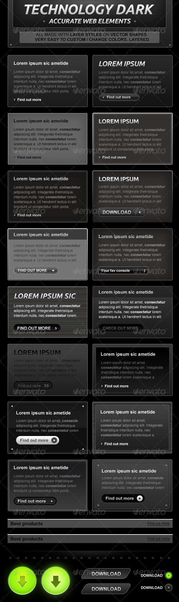 Black and Dark Web Design Elements - Miscellaneous Web Elements