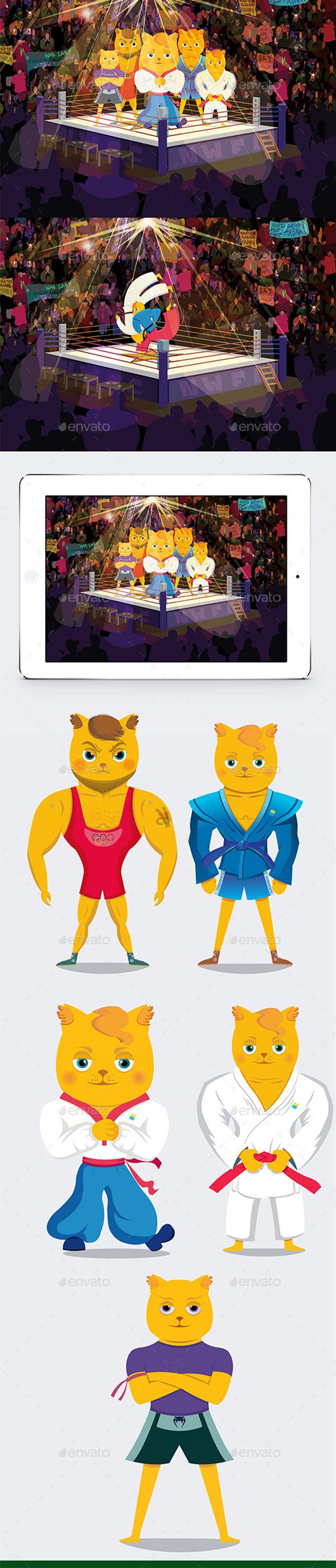 Five 2d Cats - Animals Characters