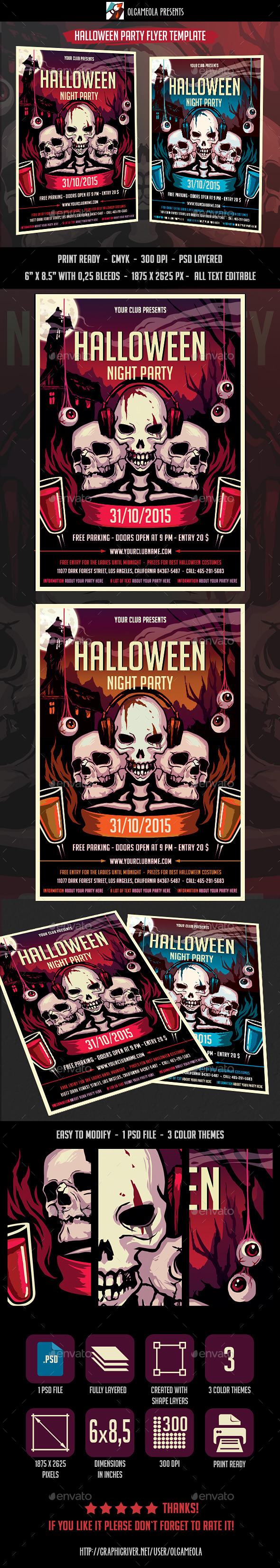 Halloween Night Party Flyer Template - Clubs & Parties Events