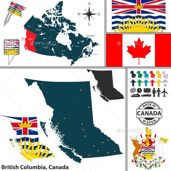 Map of British Columbia, Canada - Travel Conceptual