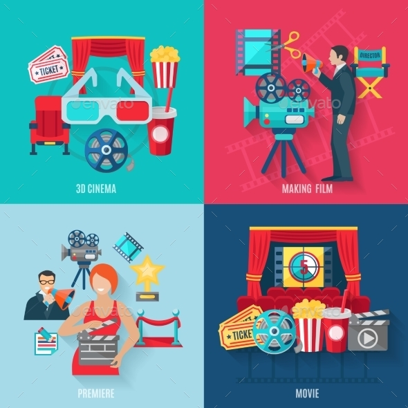 Movie Making Icons Set - Industries Business