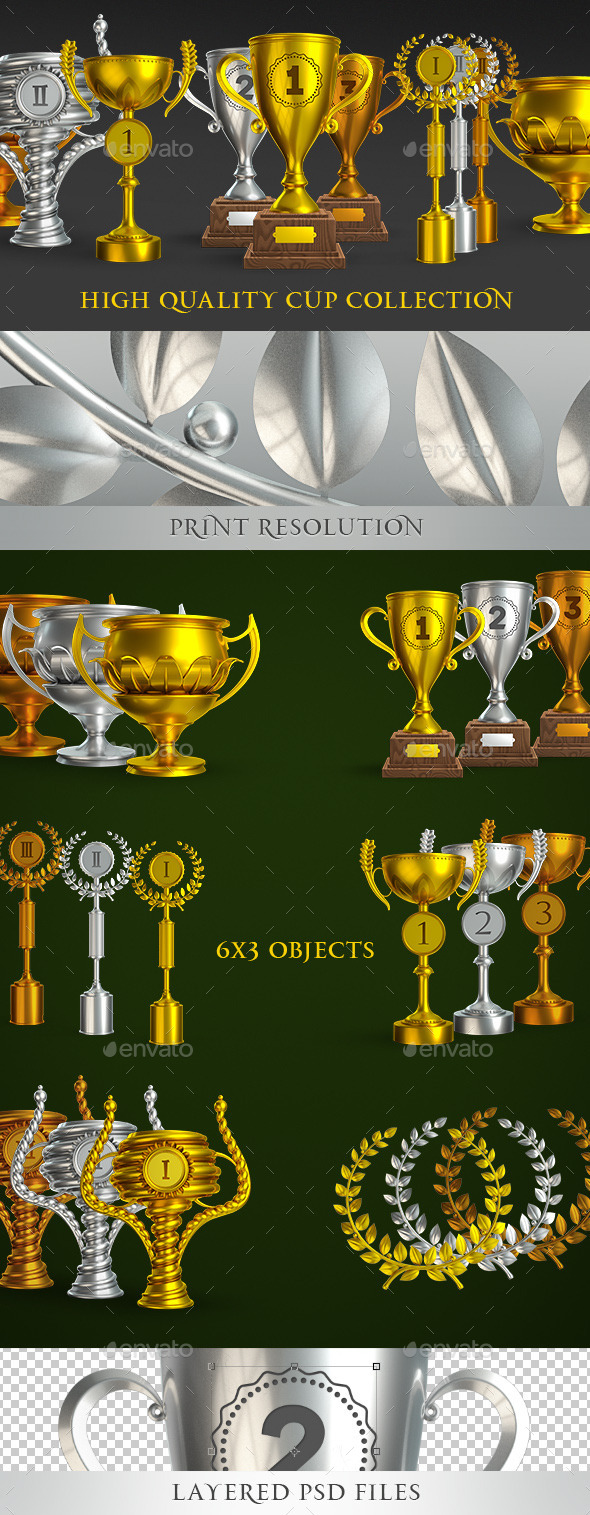 Collection Of Sports Trophies To The Winners - Objects 3D Renders
