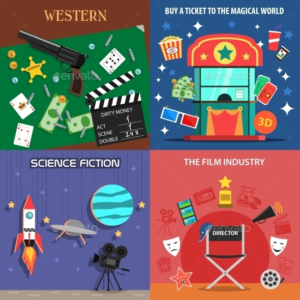 Movie Flat Icons Set