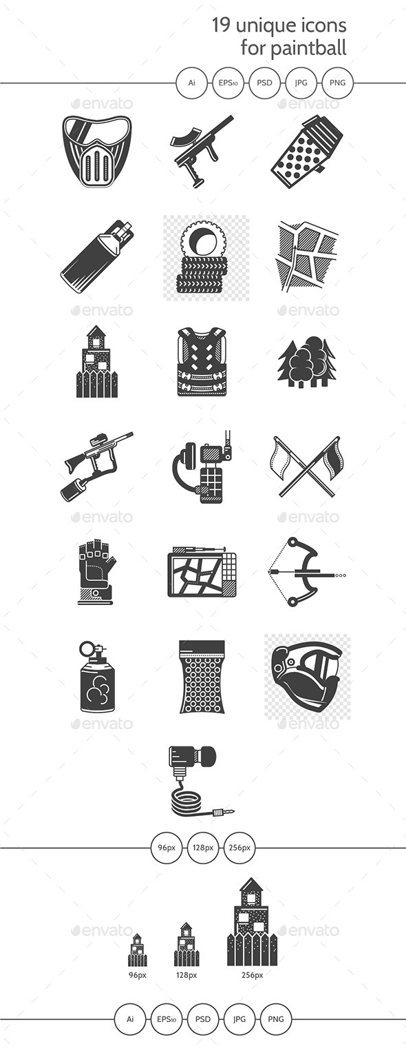 Paintball Black Icons Vector Collection - Sports/Activity Conceptual