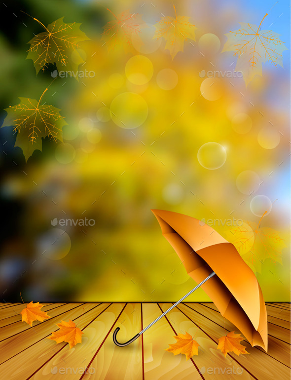Autumn Sale Background With An Umbrella Vector - Seasons Nature