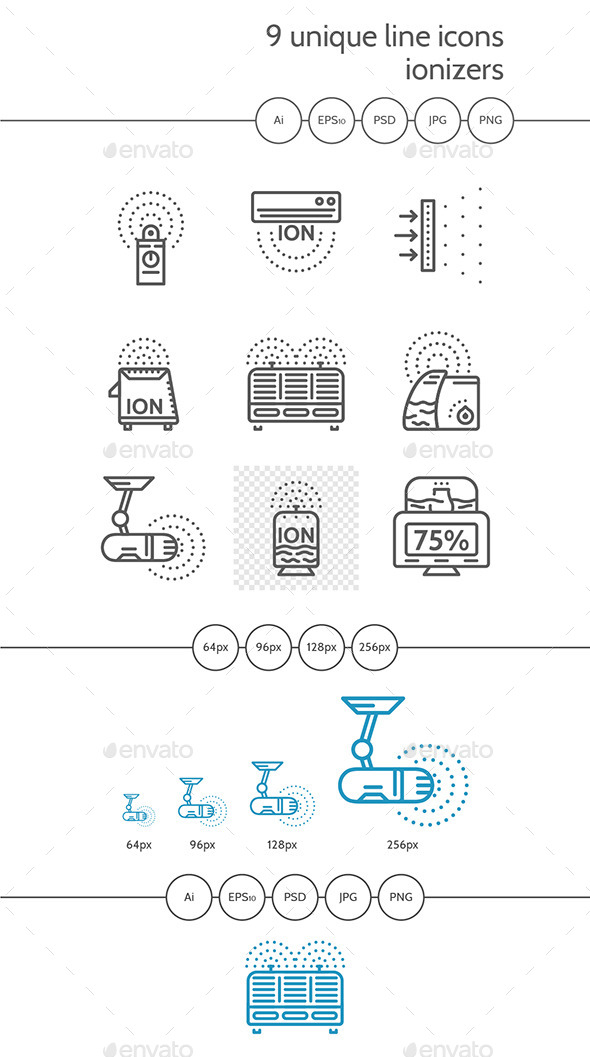 Ionizers Linear Vector Icons - Man-made Objects Objects