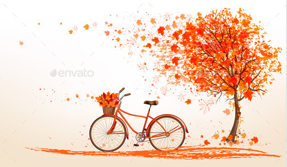 Autumn Bicycle With Colorful Leaves Vector - Seasons Nature