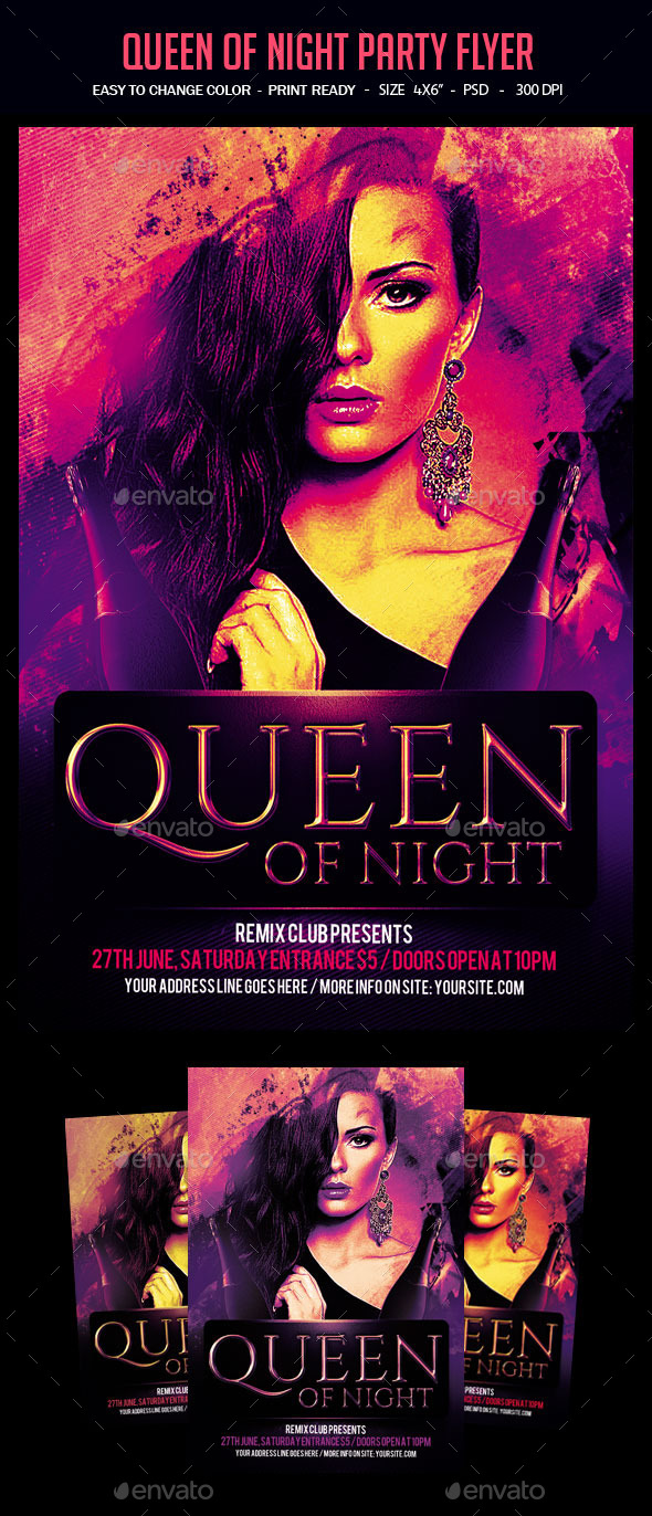 Queen Of Night Party Flyer - Clubs & Parties Events