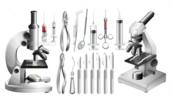 Different Medical Equipments and Tools - Objects Vectors