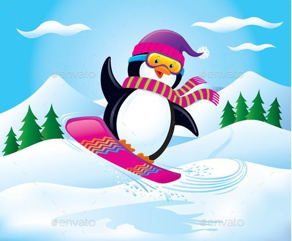 Snowboarding Penguin In The Air - Christmas Seasons/Holidays