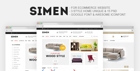 Simen – Furniture Store E-Commerce PSD