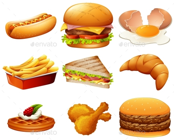 Different Kind of Fastfood - Food Objects