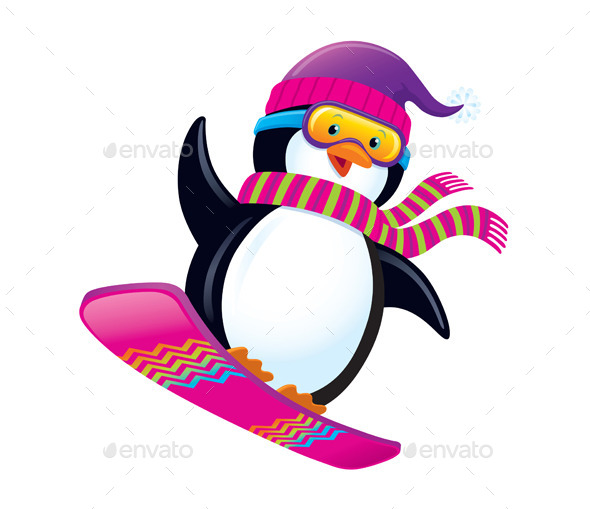 Cute Penguin Snowboarding - Animals Characters
