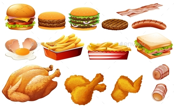 Fastfood in Various Types - Food Objects