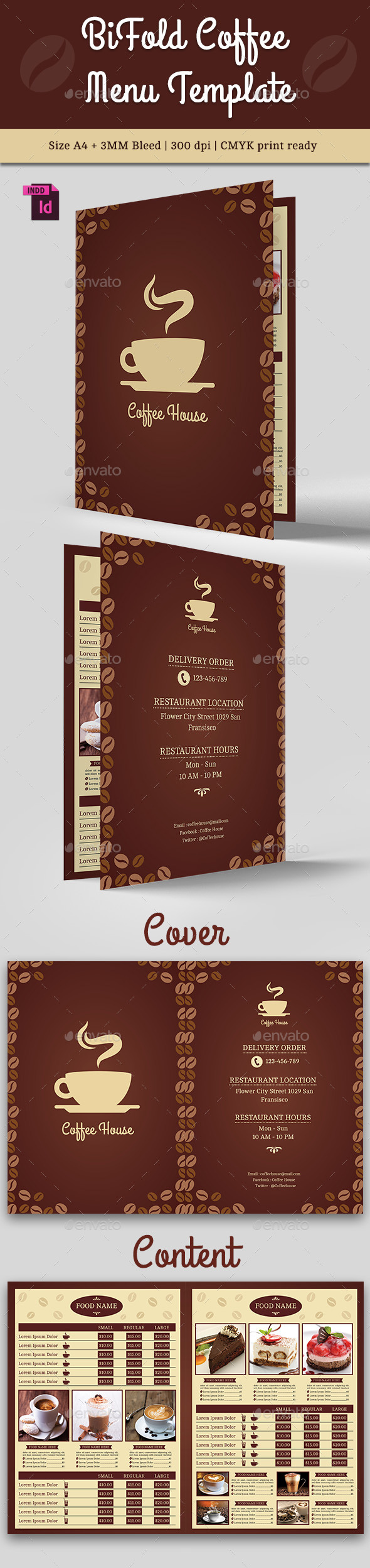 BiFold Coffee Menu Template Vol. 2 - Food Menus Print Templates