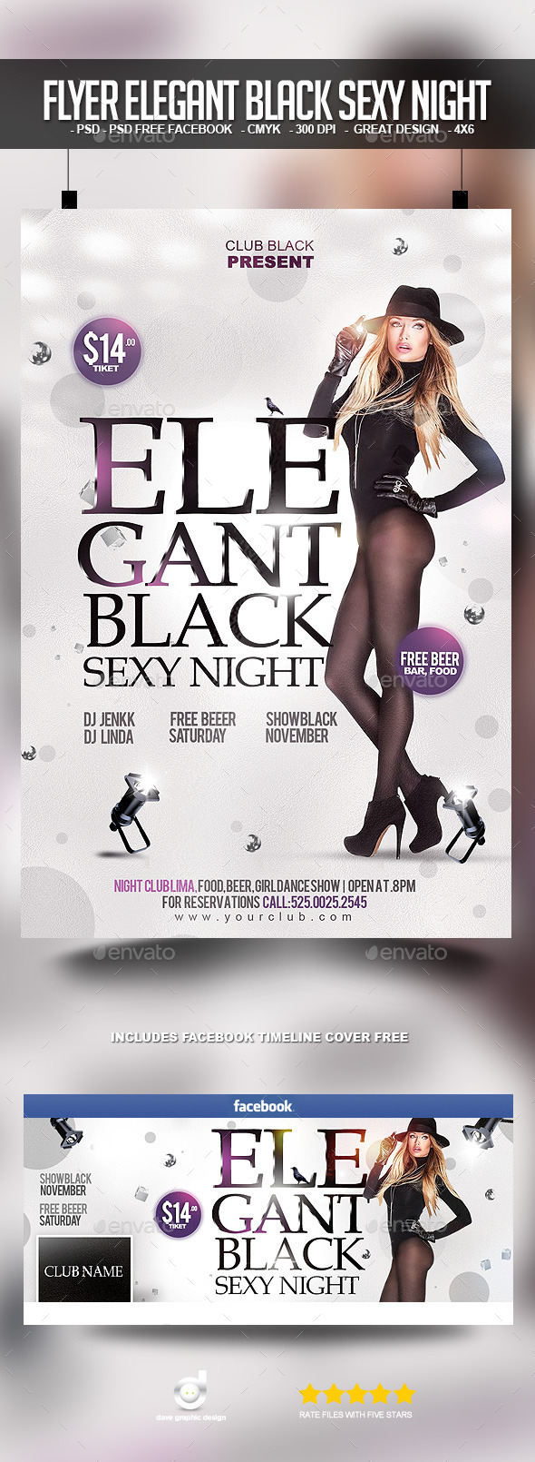Flyer Elegant Black Sexy Night - Clubs & Parties Events