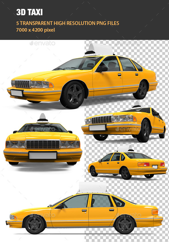 3D Yellow Taxi - Objects 3D Renders