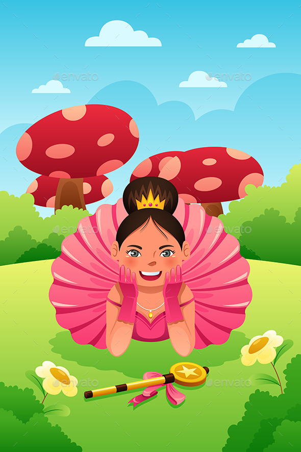 Girl Wearing Tutu and Crown - People Characters
