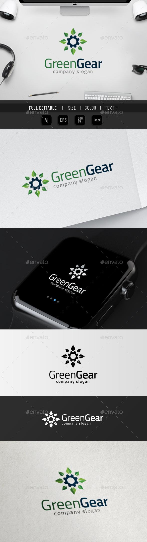 Gear Green - Eco Energy - Home Repair - Symbols Logo Templates