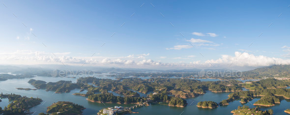 Lakes and islands at Guatape in Antioquia, Colombia - Stock Photo - Images