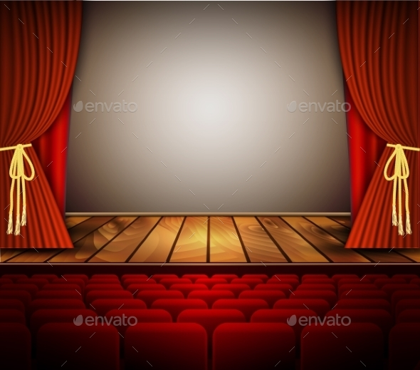 Cinema Or Theater Scene With a Curtain. - Backgrounds Decorative