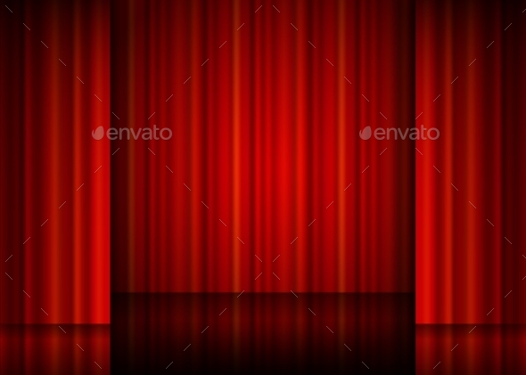 Close View Of a Red Curtain.  - Backgrounds Decorative