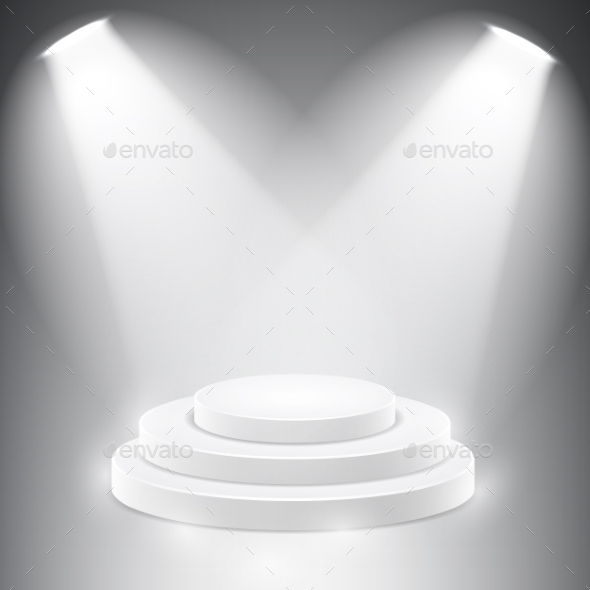 Round Podium Illuminated By Spotlights. - Backgrounds Decorative