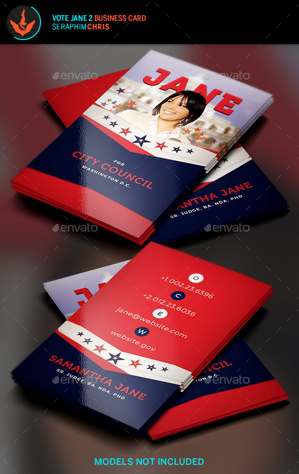Vote Jane 2 Political Business Card Template - Corporate Business Cards