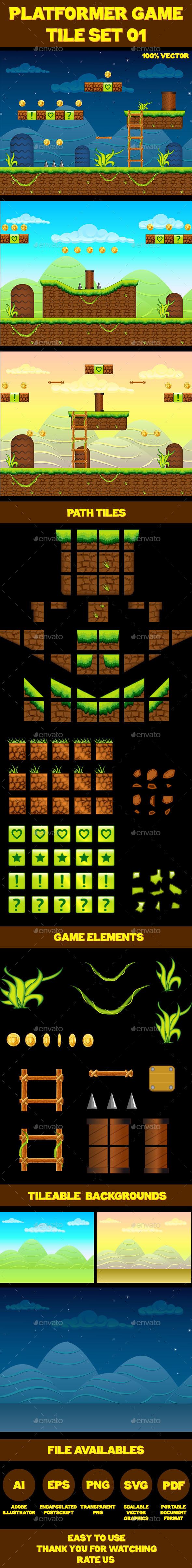 Platform Game Tile Set 01 - Tilesets Game Assets