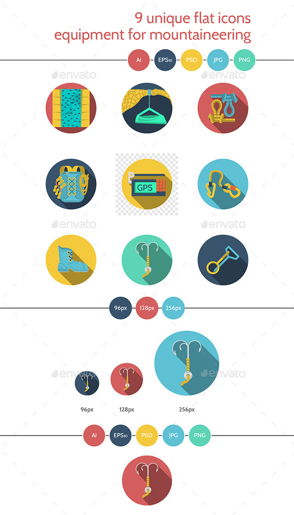 Flat Icons for Climbing Equipment