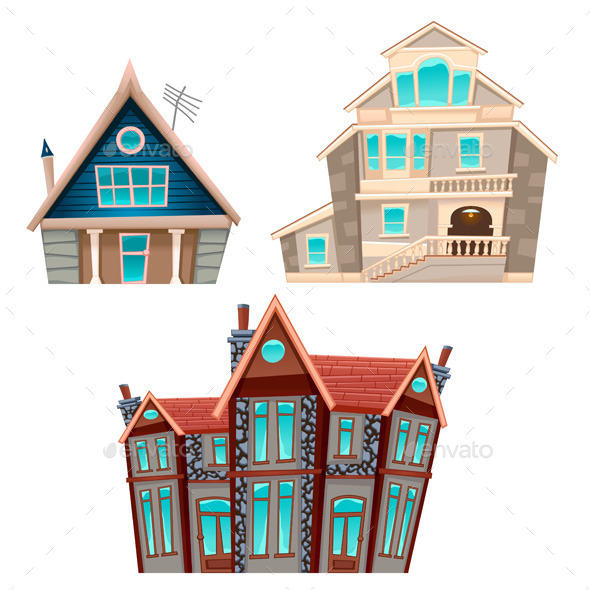 Set of Houses - Buildings Objects