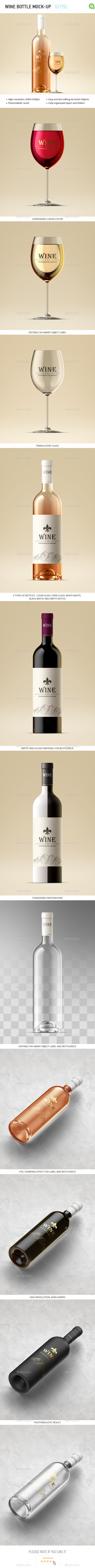 Wine Bottle and Glass Mock-up - Food and Drink Packaging