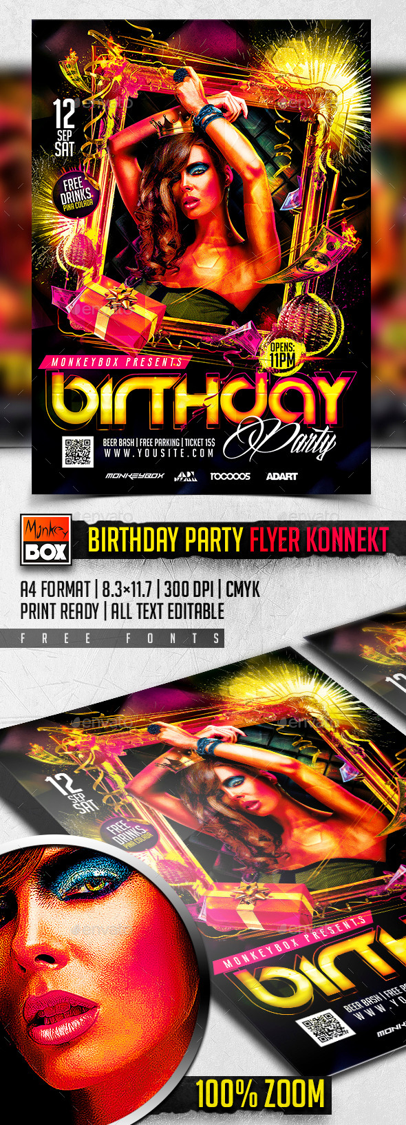 Birthday Party Flyer Konnekt