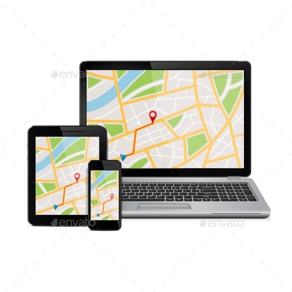 Digital Devices with Gps Navigation Map - Computers Technology