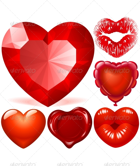 Valentine day set of Red Hearts - Valentines Seasons/Holidays