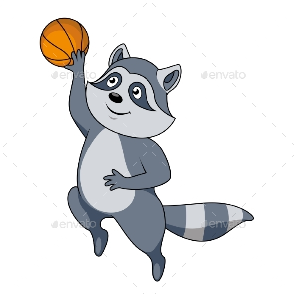 Cartoon Raccoon Player with Ball - Sports/Activity Conceptual