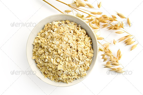 Oat flakes with oat stems - Stock Photo - Images