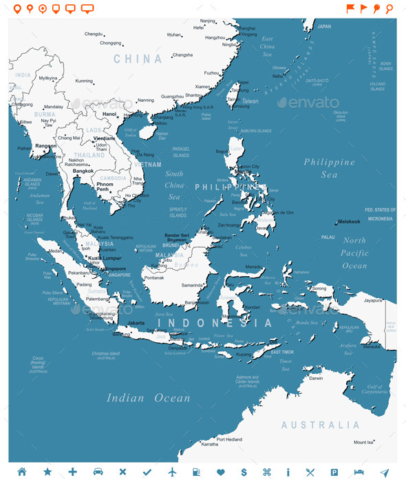 Southeast Asia Map and Navigation Labels - Travel Conceptual