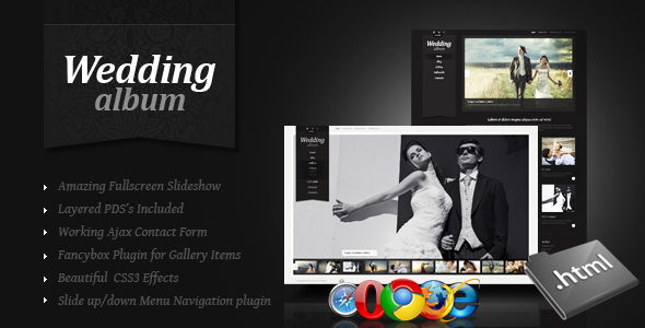 Wedding Album | Premium Non-responsive Site Template for Online Photo Albums - Photography Creative