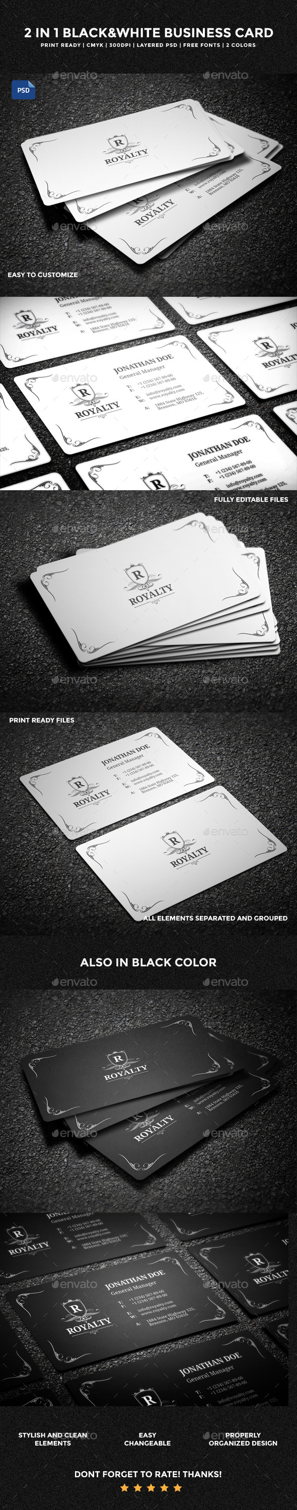 2 in 1 Black & White Business Card 58