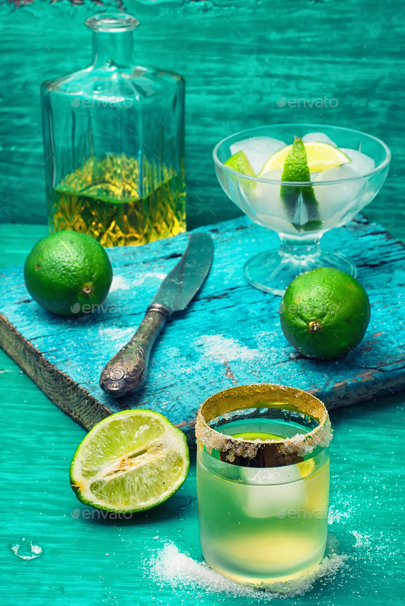 alcoholic cocktail with lime - Stock Photo - Images