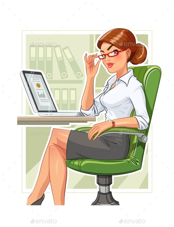 Business Woman in Armchair with Laptop - People Characters