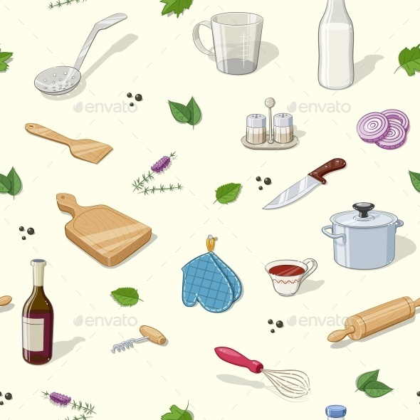 Kitchen Utensils. Seamless Pattern - Food Objects