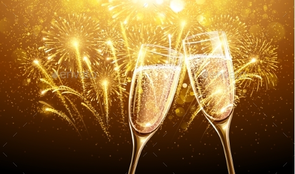 New Year Fireworks and Champagne - New Year Seasons/Holidays