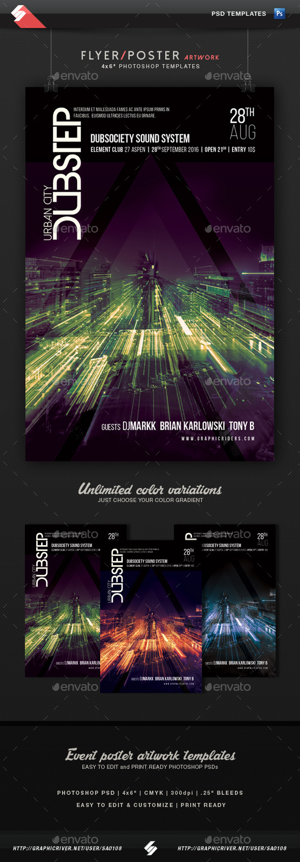Urban City Dubstep - Party Flyer Template - Clubs & Parties Events